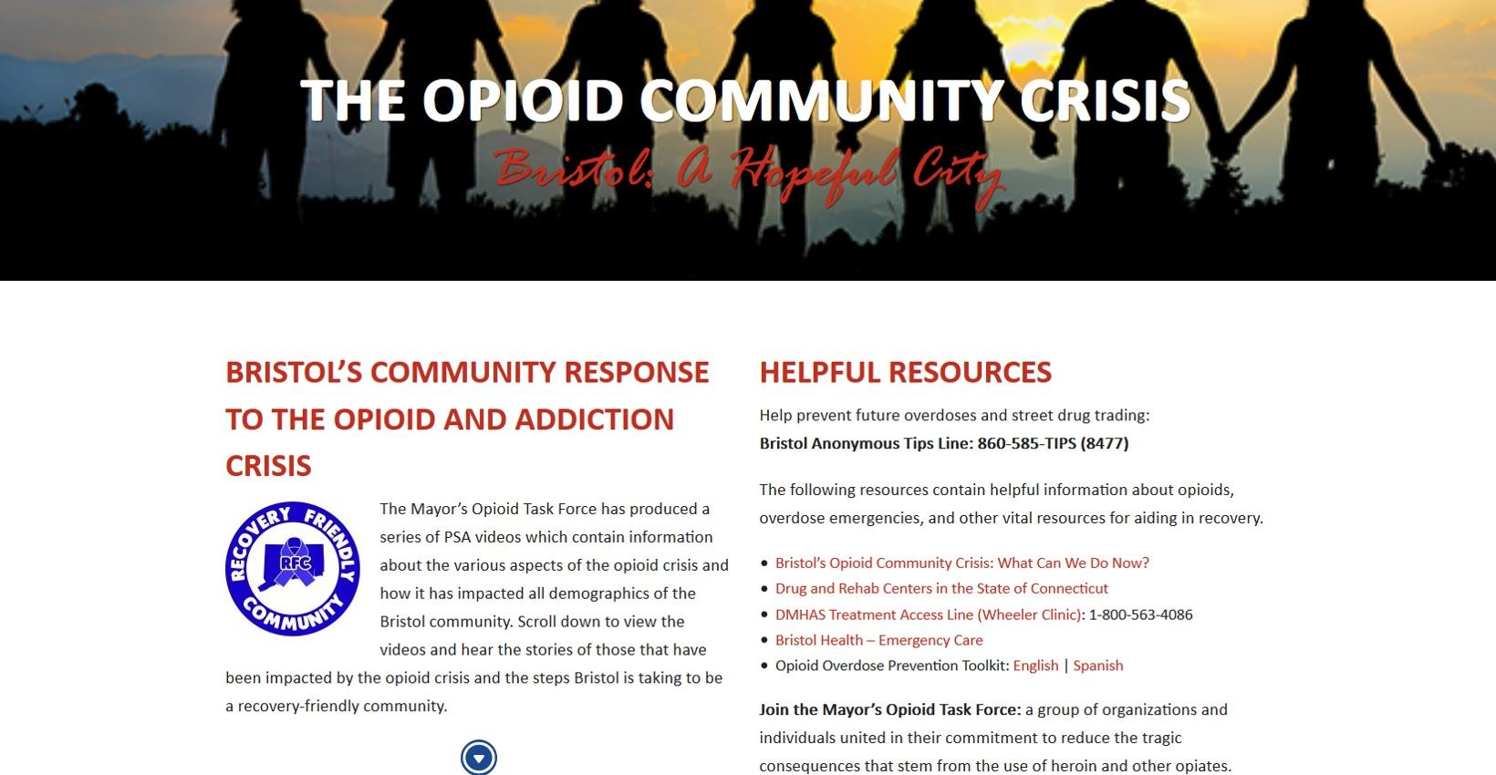 Opioid Crisis PSA Page Launch